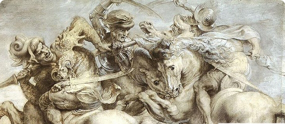 The battle of anghiari the lost leonardo da vinci for Battle of marciano mural
